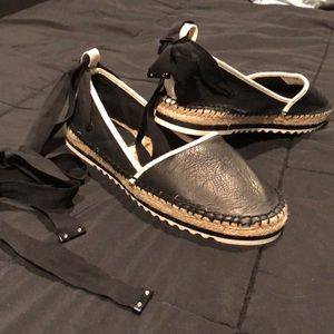 ALDO black and white leather espadrilles